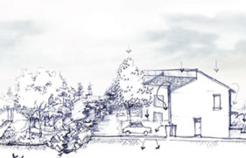 Sketch of The Mill buildings