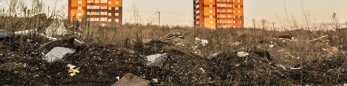 Derelict land and hi-rise buildings