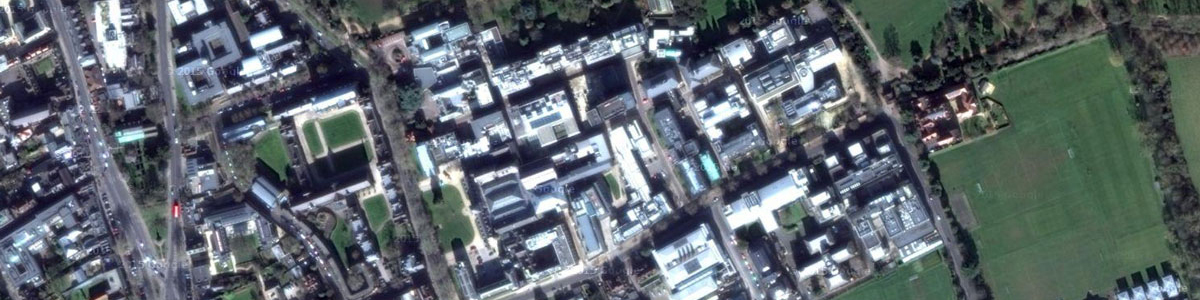 Aerial shot of OUCE, University of Oxford