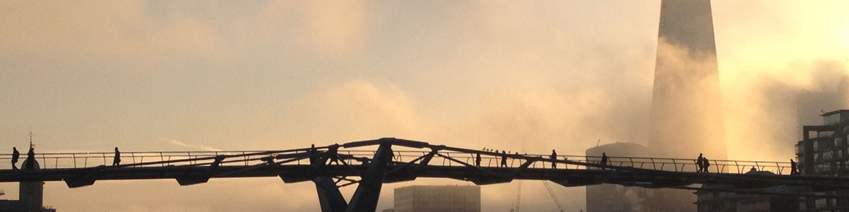 Misty view of Millennium bridge & the Shard