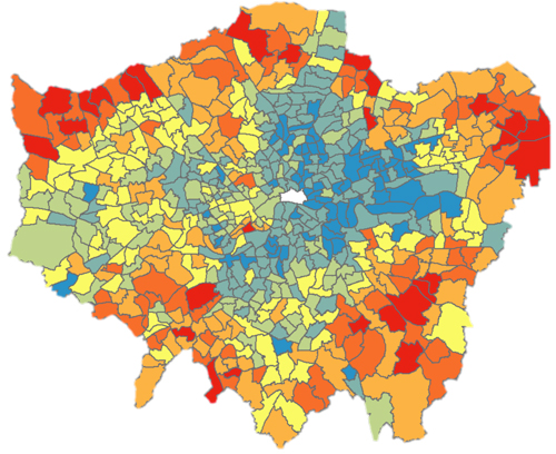 Map showing areas of domestic overheating in London